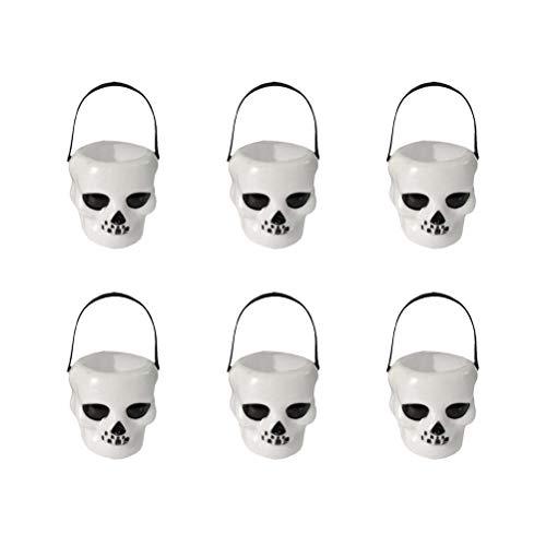 Toyandona 12 x Halloween-Eimer Mini Jar Skull Shape Candy Eimer Trick Leckerlis Candy Holder for Halloween Party Supplies Dekoration