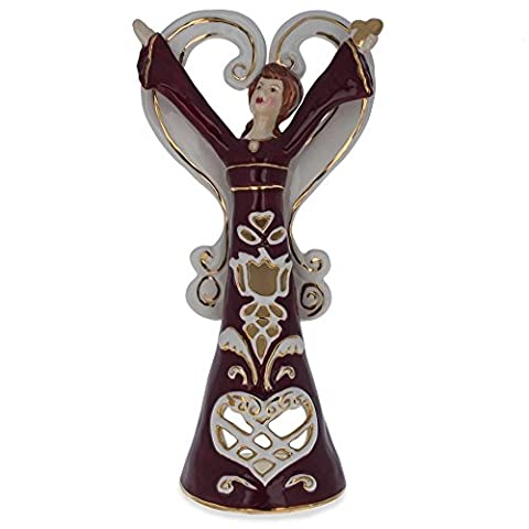 25,4cm rot Blossom Teelicht Porzellan Engel Figur (Porzellan Engel Figurine)