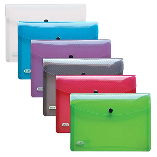 ELBA 400031401 Brieftasche hawai 30er Pack Format A5 aus robustem Kunststoff Druckknopf-Verschluss mit Dokumenten-Tasche grün, grau, lila, rot, blau, farblos -