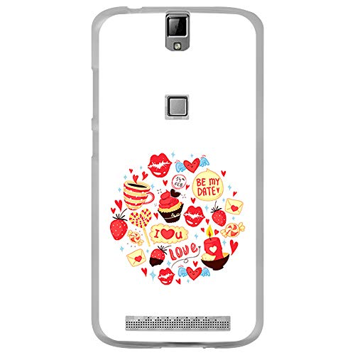 BJJ SHOP Transparent Hülle für [ Elephone P8000 ], Flexible Silikonhülle, Design: Liebe zu Süßigkeiten