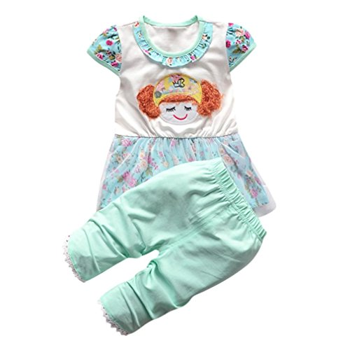 Tefamore ❤️ Säugling Kinder Baby Girls Cartoon Gaze Rock Tops & Hosen Outfits Kleidung Sets Grün (12 M)