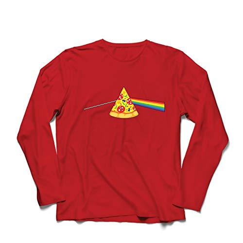 lepni.me Herren T Shirts Pizza in der bunten Regenbogenstimmung, Lebensmittelliebhabendesign (X-Large Rot (Kartoffel Mann Kostüm)