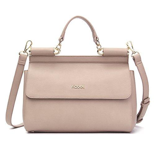 Kadell Frauen Handtaschen Tote Crossbody Schultertasche Stilvolle PU Leder Top Handle Taschen Khaki (Satchel Classic Leather)