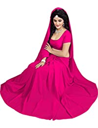 Modern Sarees Women's Georgette Saree With Blouse Piece (Plain Sarees 05_Pink)