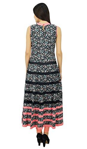 Bimba robe design imprimé floral à long manches partie usure kurta Anarkali Noir
