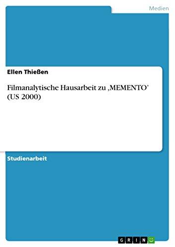 Filmanalytische Hausarbeit zu  ,MEMENTO' (US 2000) (Memento 2000)