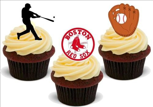 Baseball Boston Red Sox Mix - 12 essbare hochwertige stehende Waffeln Karte Kuchen Toppers Dekorationen, Baseball Boston Red Sox Mix - 12 Edible Stand Up Premium Wafer Card Cake Toppers Decorations