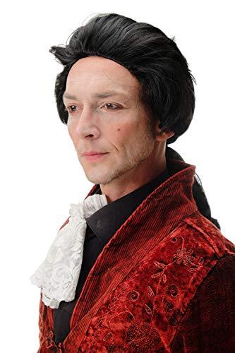 WIG ME UP - 4287-P103 Fasching Karneval Halloween Perücke schwarz mit Zopf: Barock Edelmann Poet GRAF Fürst Vampir Dracula