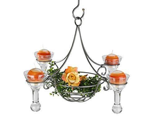 Kronleuchter 95297 Weiß Kerzenhalter H-60 cm Kerzenständer Hängeleuchter Metall