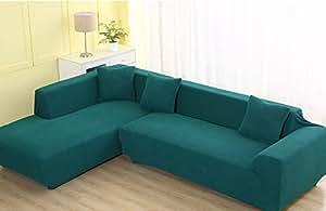 J&DSU Divano Copertine Cotone Antiscivolo Slipcovers Solido Colore Tessuto Mobili Protector per 1 2 3 4 Divano -1 Pezzo-Verde 92-118in
