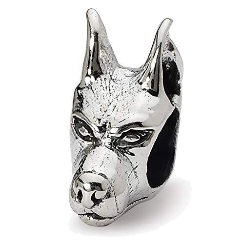 Lex & LU Sterling Silber Reflexionen Rottweiler, deutsche Head Bead -