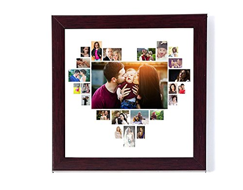 Generic 12In X 12 In Personalised Photo Collage Heart Shaped Love Shaped Photo Frame Wbg Collage