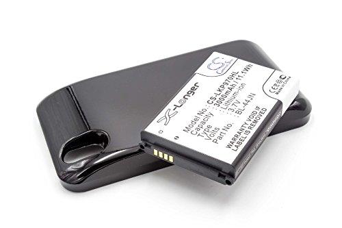 EXTENDED Akku LI-ION 3000mAh passend für LG Optimus Black, P970, P 970 ersetzt BL-44JN mit Gehäusedeckel in schwarz (Optimus P970 Black Lg)