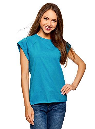 oodji Ultra Damen Baumwoll-T-Shirt Basic mit Unbearbeitetem Saum, Blau, DE 42 / EU 44 / XL