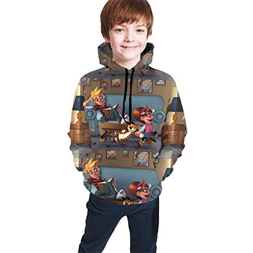 Hidend Kinder Kapuzenpullover Sweatshirt, Calvin and Hobbes Fashion Teen Hooded Sweater Black