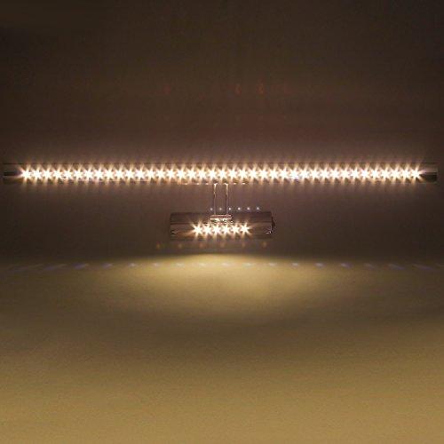 DECKEY LED Spiegelleuchte mit Schalter Badlampe 180°schwenkbar Spiegellampe Edelstahl Bilderleuchte Wandleuchte (9w-Warmweiß)