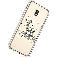 Handytasche Samsung Galaxy J7 2017 Weihnachten Hülle Clear Case Ultra Dünn Durchsichtige Silikon Kirstall Transparent Handy Hülle Bumper Cover Schutz Tasche Schale,Weihnachten Elch