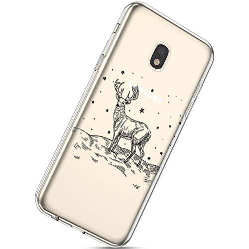 Handytasche Samsung Galaxy J3 2018 Crystal Clear Durchsichtige Hülle Ultradünn Transparent Handyhüllen TPU Bumper Case Silikon Hülle Cover,Weihnachten Elch