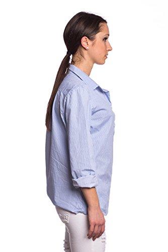 Abbino 215205 Hemdblusen Shirts Tops Damen - Made in Italy - 2 Farben - Übergang Frühling Sommer Herbst Damenshirts Damenblusen Damentops Feminin Sexy Spitze Festlich Elegant Langarm Modern Blau