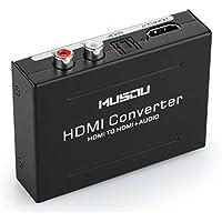 Convertisseur Audio, Musou Adaptateur Optique, Convertir HDMI Numérique à HDMI+SPDIF/Optique+RCA(L/R), avec EURO alimentation 5V, Parfait pour PS3 XBox HD DVD PS4 Sky HD Plasma Blu-ray Home Cinéma, Soutien 1080p 3D