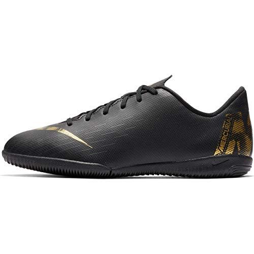 Nike Unisex-Kinder VaporX 12 Academy IC Fußballschuhe, Schwarz (Black/MTLC Vivid Gold 077), 38.5 EU (Gold Kinder Fußballschuh)