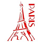 Paris Stencil - 8 x 11.5 inch (L) - Reusable Eiffel Tower French Decor Stencils for Painting - Use on Paper Projects Walls Floors Fabric Furniture Glass Wood etc.