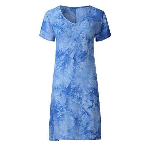 UOWEG Dress Damen Casual V-Ausschnitt Kurzarm Gradient Printed Knielange Kleider