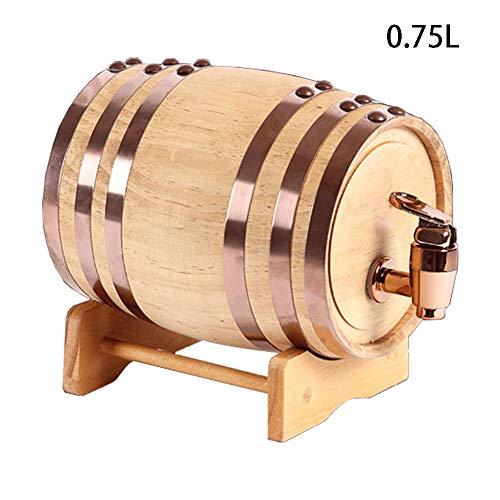 CYANNAN Weinfass - Siegel Eichenfass Firma Weinbereitung Holzwaren Quality Holzfass Liner Keine Leckage Massives Schnapsfass Unlackiertes Holzfass Zapfhahn,0.75L