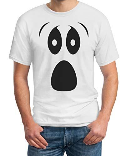 Holloween Geister Kostüm - Grusel Kostüm Halloween Kostüme Herren T Shirts Ghost Face Herren T-Shirt XX-Large Weiß