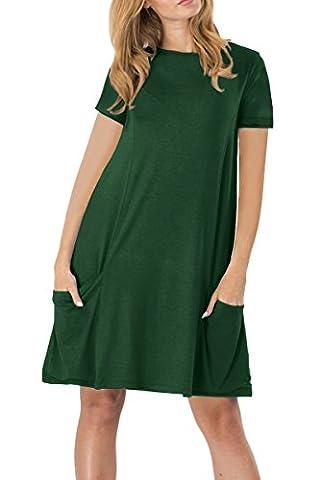 YMING Damen Kurzarm mit Taschen Kleid Lose T-Shirt Kleid Rundhals Casual Tunika Midi Kleid,Grün,M / DE (Brown Kleid Jeans)