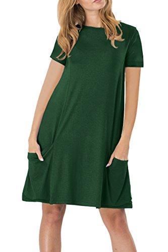 YMING Damen Kurzarm mit Taschen Kleid Lose T-Shirt Kleid Rundhals Casual Tunika Midi Kleid,Grün,M/DE 38-40