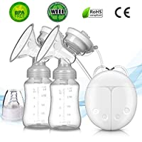 Befound Breast Pump, Double Electric Breast Pump, Pain-Free Strong Suction Power Breast Pump, With Milk Bottle, Breast Massager Breast Care with USB and Lid For Baby Breastfeeding