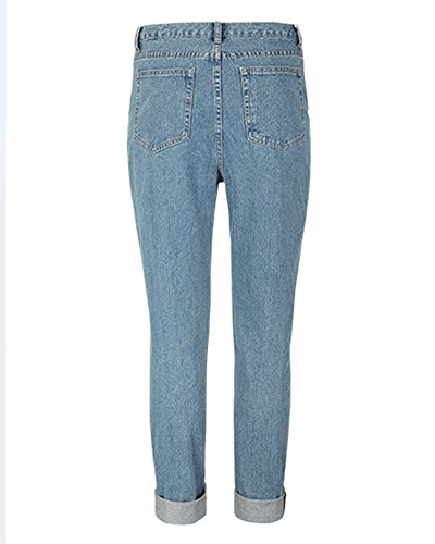 SaiDeng Donne Casual Pantaloni Vita Alta Sciolto Stirata Jeans Blu