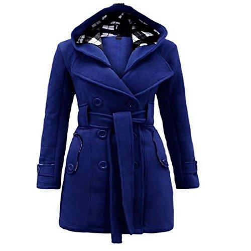 Vertvie Damen Winter Lang Mantel Trenchcoat Wintermantel Winterjacke aus Baumwolle mit Gurt und Kapuze Knallblau