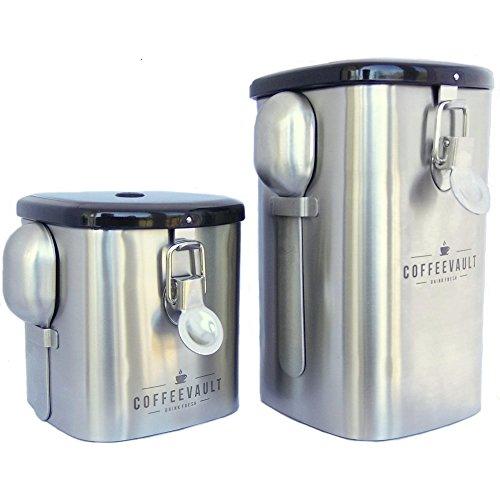 Kaffee Vault Kanister: Kaffee Kanister Set, dass beide ganze Bohnen und Boden hält Kaffee frisch (zum Patent angemeldet) (Patent Belle)