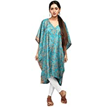 I was a Sari Women's Handcrafted Beachwear Collection Printed Kaftan - Free Size, Green