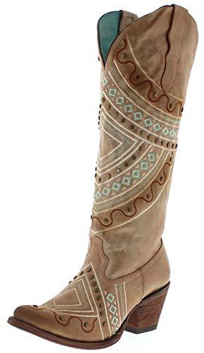 Corral Boots Damen Stiefel E1378 Cowboystiefel Lederstiefel Braun 37 EU (6.5 US) - Distressed Braun Cowboy Stiefel