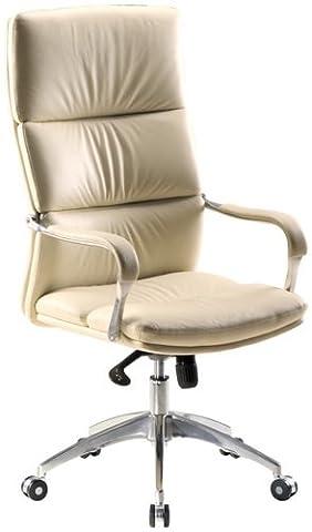 hjh OFFICE 600720 chaise de bureau, fauteuil de direction BRUNELLO 20 beige en simili cuir, avec accoudoirs pour l