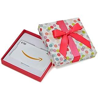 Amazon.de Geschenkkarte in Geschenkbox - 30 EUR (Bunte Punkte)