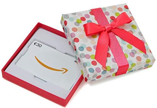 Amazon.de Geschenkkarte in Geschenkbox - 30 EUR (Bunte Punkte) (Und Gutscheine M M)
