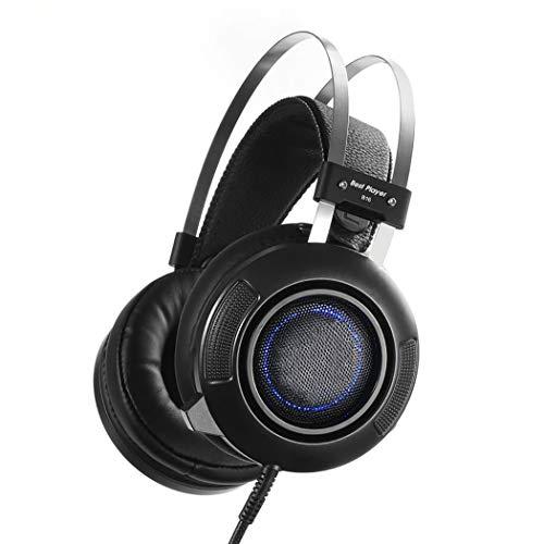 LIXIAG Gaming Headset + unidirektionales Rauschunterdrückungsmikrofon Computer USB Beleuchtung Soundargument 7.1 Internet-Bar Kopfhörer mit Line-Regler Lautstärkeregler schwarz -