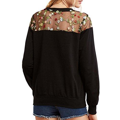Felpe Donna Yanhoo Donna pizzo maniche lunghe felpa con cappuccio floreale Pullover Top T-Shirt Nero