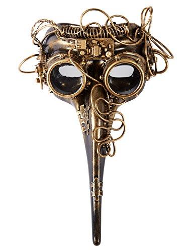 Venezianische Maske Steampunk gold keine (Nase Lange Kostüm Venezianische Maske)