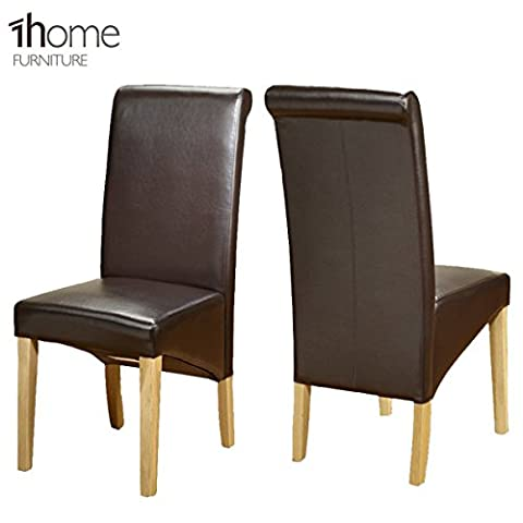 1home Leather Dining Chairs Scroll Back Dark Legs Furniture (Pair