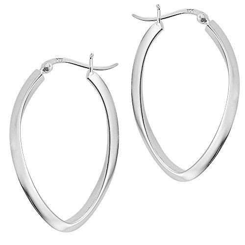 Vinani Klapp-Creolen oval kantig glänzend Sterling Silber 925 Ohrringe mit Bügel Schranken Verschluss 2CGG - Oval Silber Ohrringe