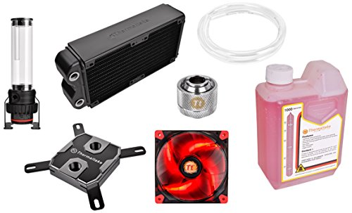 Thermaltake - Pacific RL240 - Kit de watercooling PC (Waterblock x1 - Pompe D5 x1 - Radiateur 240mm x1 - Embout à compression chrome x6 - Ventilateur Luna 12 x2 - Tube x1 - Liquide refroidissement rouge x1)) Rouge