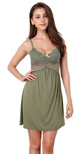 Memory baby donna sexy pizzo camicia da notte seta cinghia di spaghetti con scollo a v pigiama e camicia da note babydoll lingerie(verde,large)