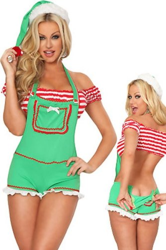 less is more Sexy Elfen-Kostüm CUTE ELF mit TASCHEN Weihnachten X-Mas Nikolaus 34-38 (Sexy Cute Kostüm)