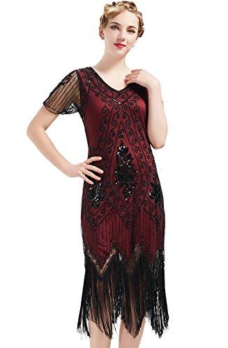 ArtiDeco 1920s Kleid Damen Flapper Kleid mit Kurzem Ärmel Gatsby Motto Party Damen Kostüm Kleid (Rot Schwarz, XXXL)