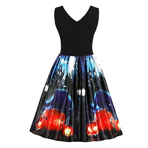 MIRRAY Damen Vintage Halloween Kürbisse Sleeveless Abend Prom Kostüm Swing Kleid Halloween Kostüm
